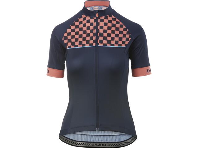 Giro Chrono Sport Kortärmad cykeltröja Dam midnight blue checks